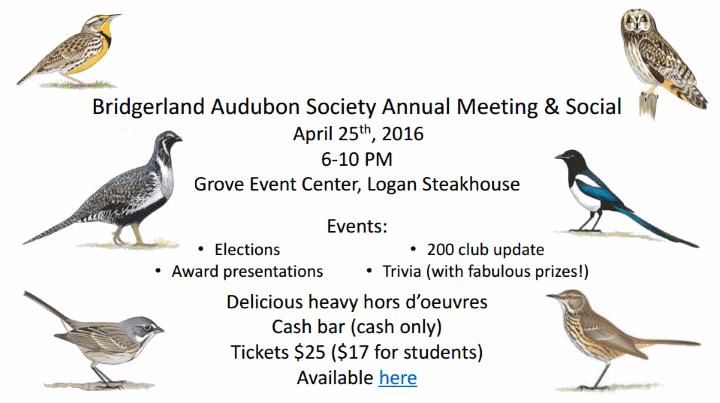 Bridgerland Audubon Society Annual Meeting and Social