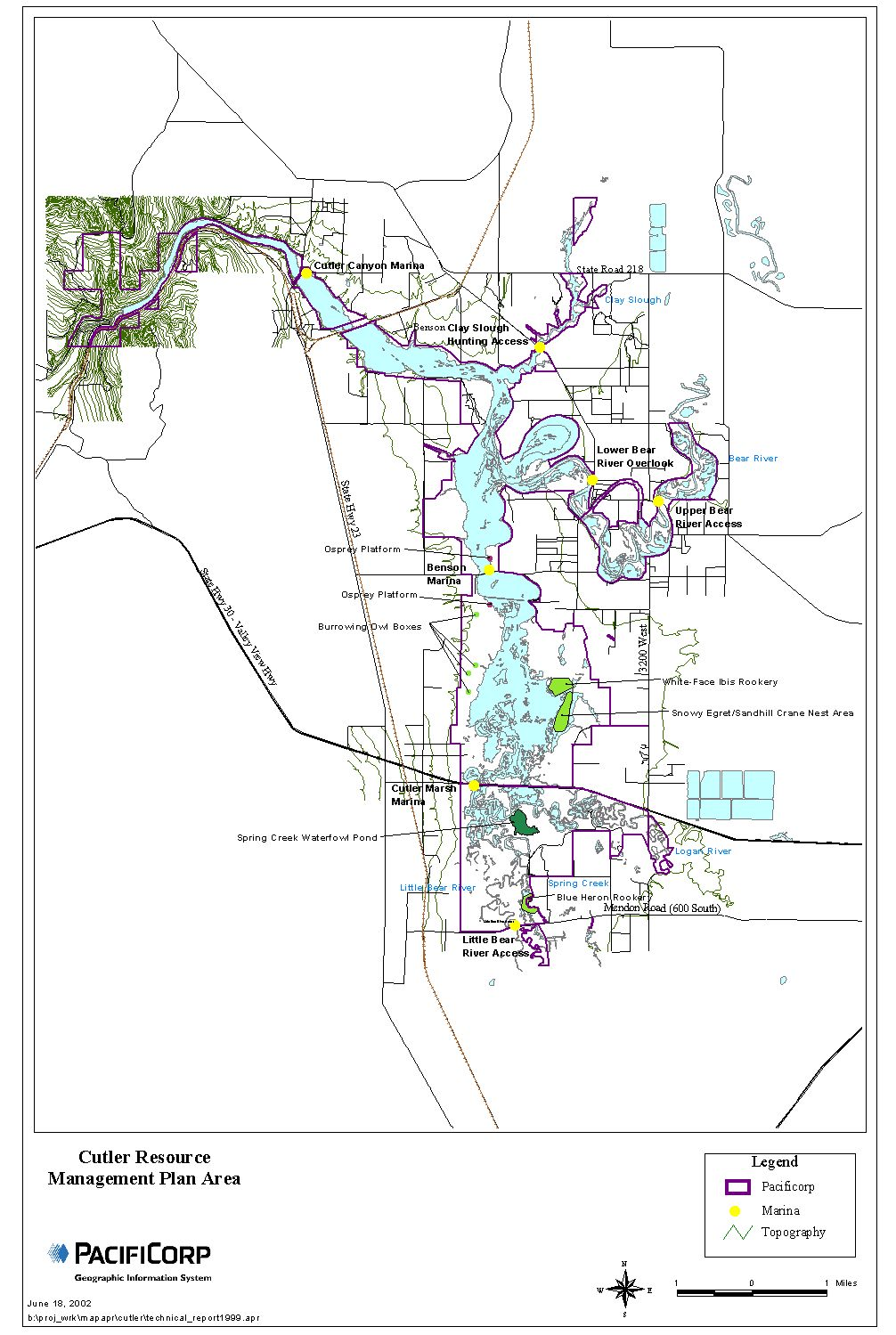 Cutler Reservoir Management Plan Area PacifiCorp GIS, June 18, 2002