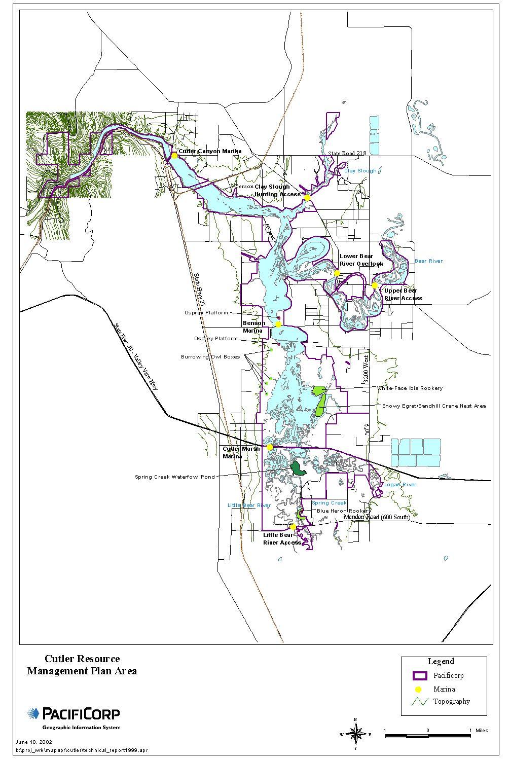 Cutler Reservoir Management Plan Area PacifiCorp GIS, June 18, 2002