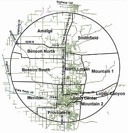 Logan, UT Christmas Bird Count Map per Bryan Dixon 2015