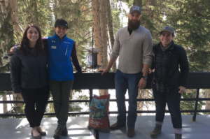 Black Rosy-Finch Feeder Team with Feeder at Utah Ski Resort Courtesy and Copyright Janice Gardner, Photographer Wild Utah Project https://wildutahproject.org/