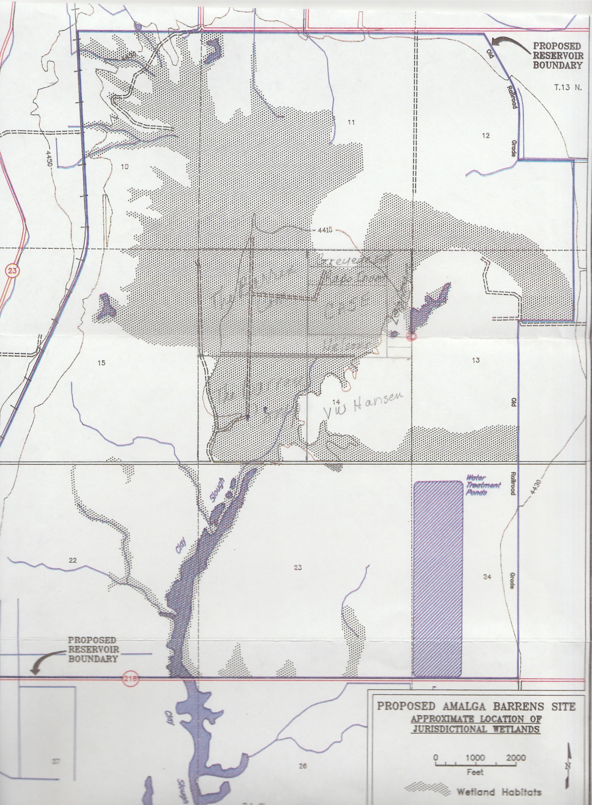 Proposed Amalga Barrens Site, Approximate Location of Jurisdictional Wetlands, Source Unknown