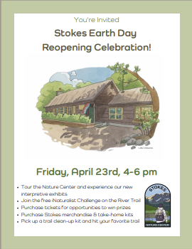 Stokes Nature Center Earth Day Re-Opening April 23, 2021 4-6 pm