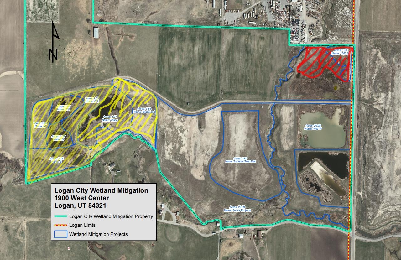 Logan City Wetland Mitigation Bank Map, Courtesy Logan City, Tyler Richards and Issa Hamud