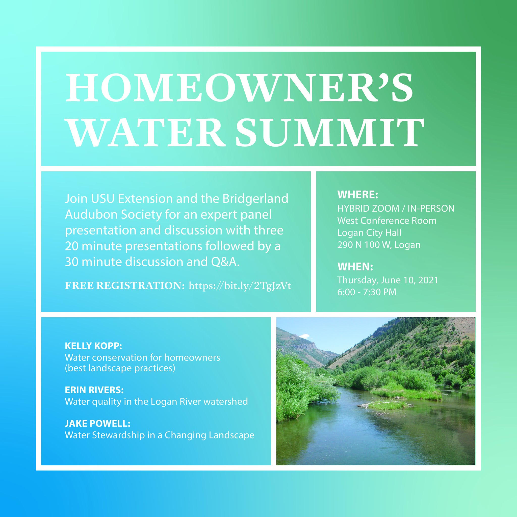 Homeowner's Water Summit: Join Utah State University Extension and the Bridgerland Audubon Society for an expert panel presentation and discussion with three 20 minute presentations followed by a 30 minute discussion and Q&A.