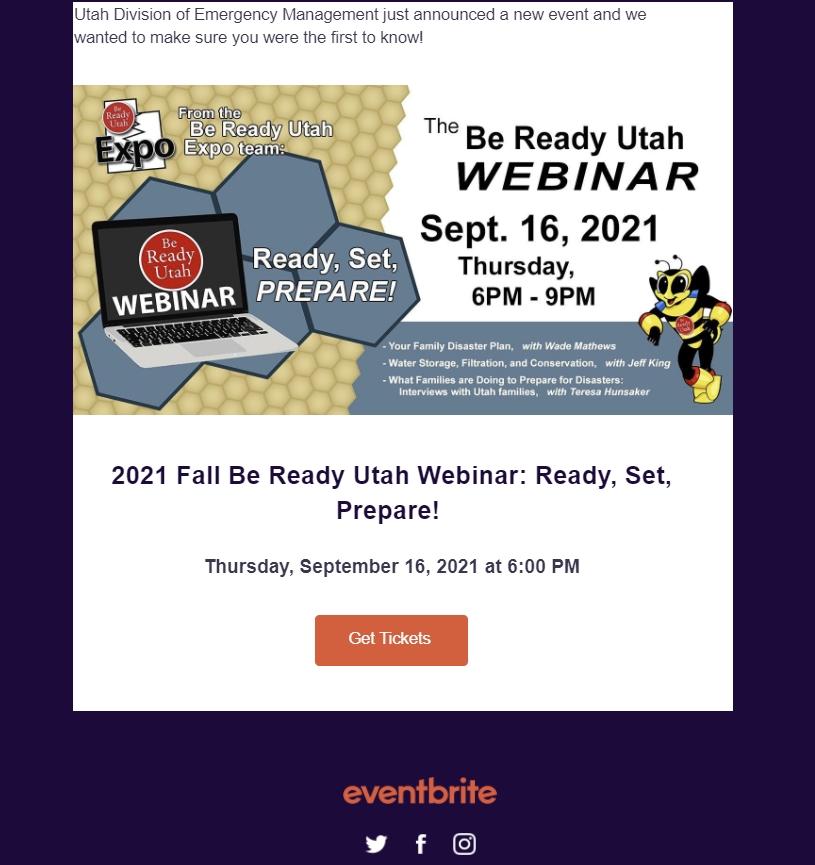 Be Ready Utah Webinar, Sept 16, 2021 Utah Division of Emergency Management
